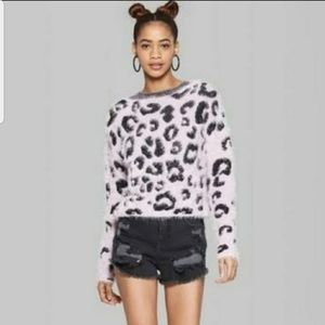 Wild Fable Pink Fuzzy Sweater w/ Cheetah Print